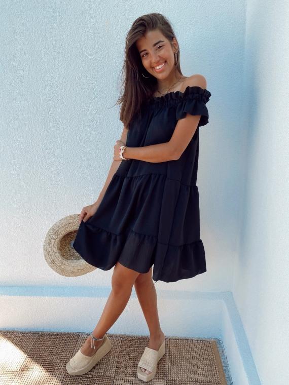 Black KARMA flared dress