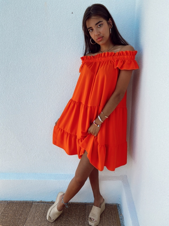Orange KARMA flared dress