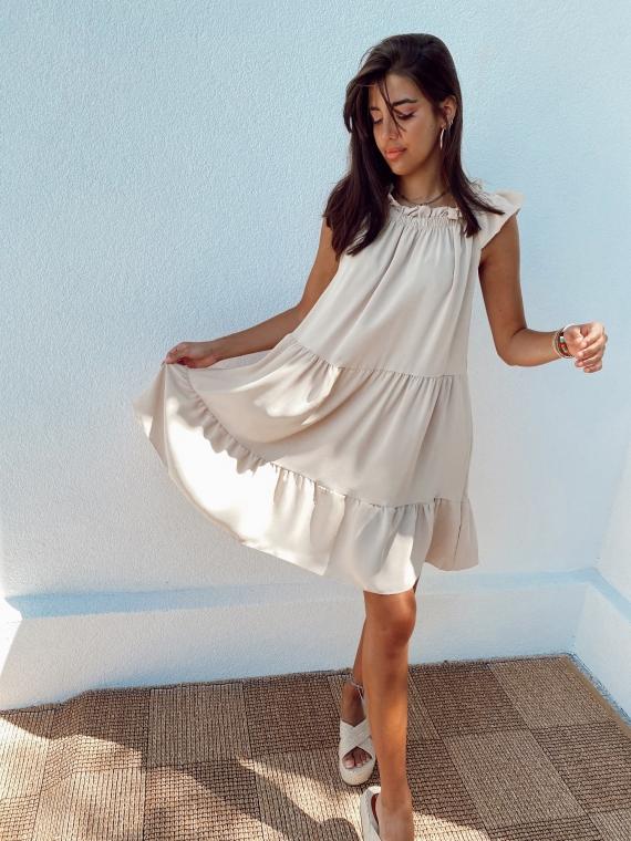Beige KARMA flared dress