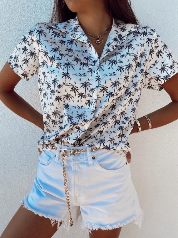 White BAHA Palm Shirt