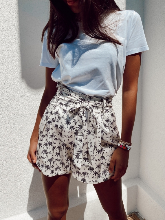 White satin PALMIER shorts
