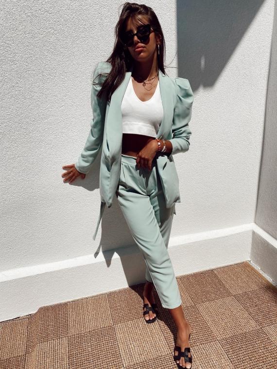 Green MIKADO blazer and pantsuit