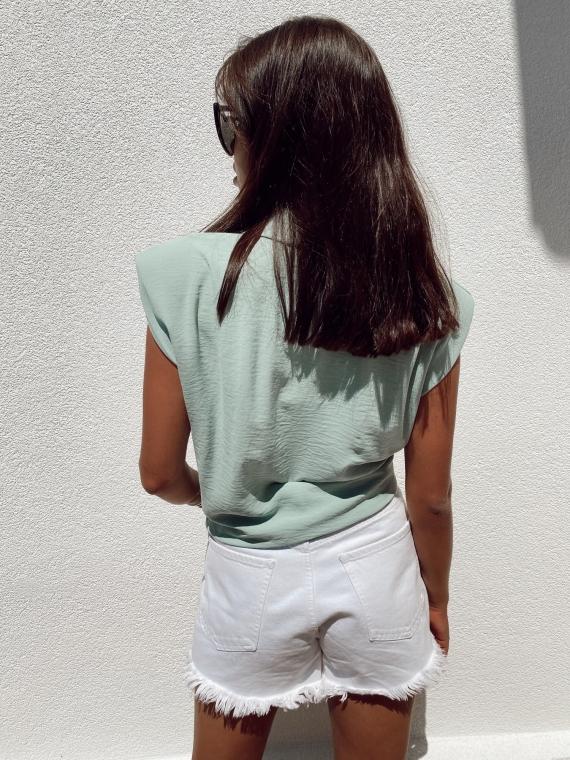 Light green GYPSY Shoulder Pad Shirt