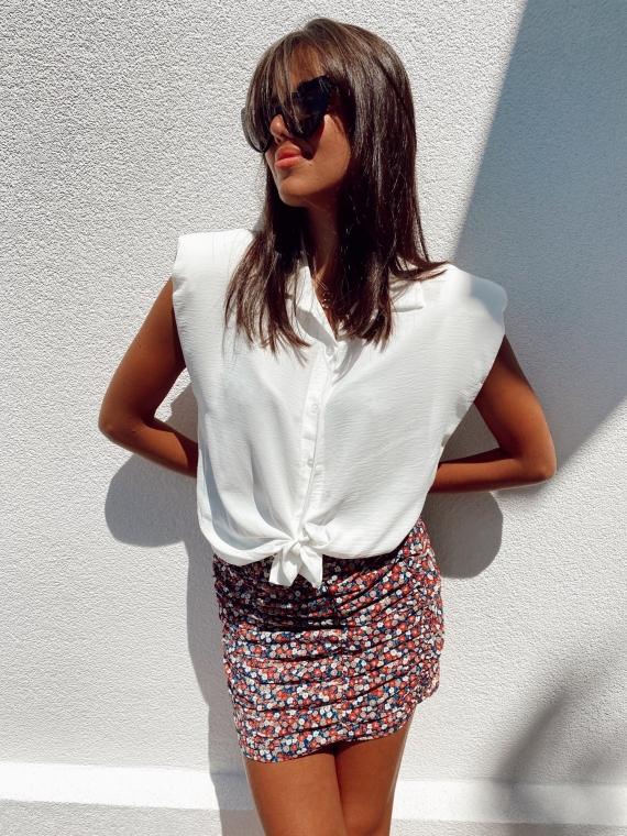 White GYPSY Shoulder Pad Shirt