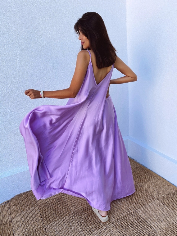 Lilac satin CANNELLE flared dress