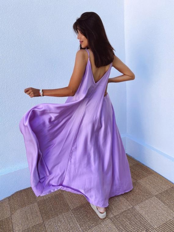 Robe évasée CANNELLE satinée lilas