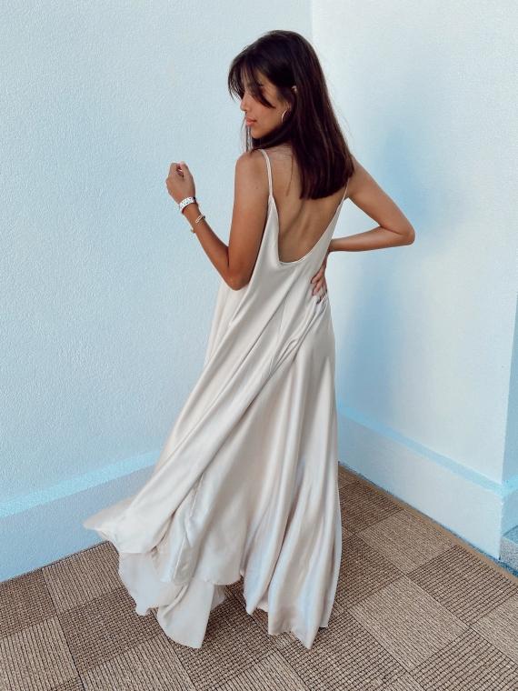 Beige satin CANNELLE flared dress