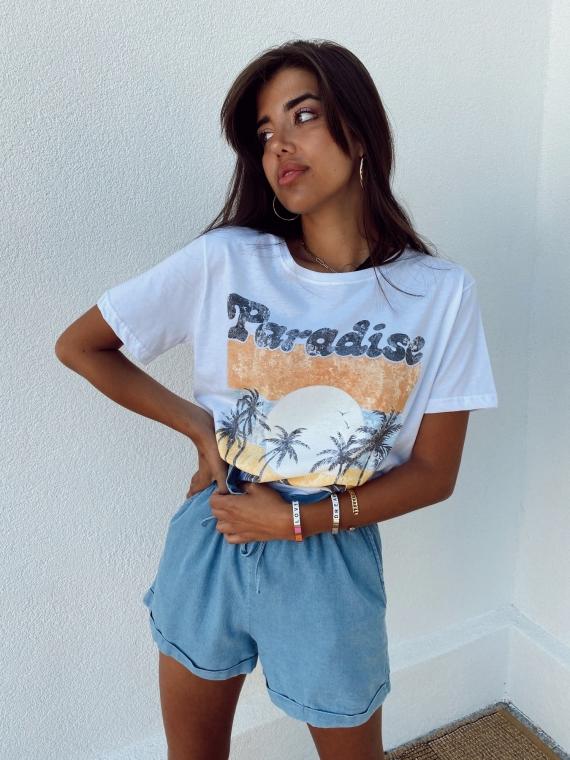 White PARADISE T shirt