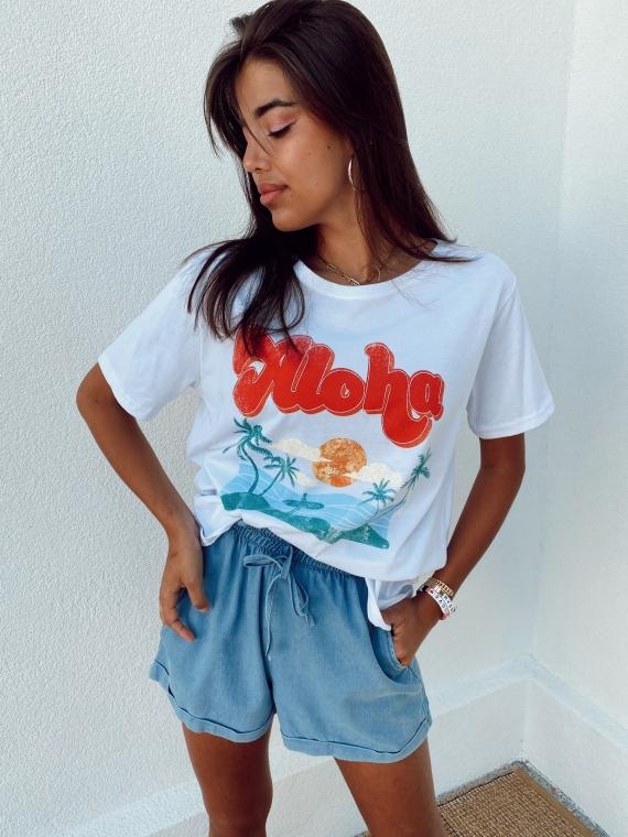 T shirt ALOHA blanc