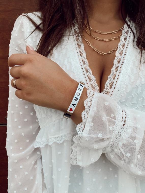 Bracelet carré AMORE noir