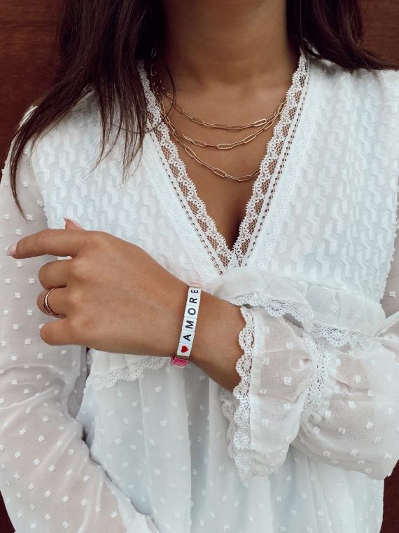 Pink AMORE square bracelet