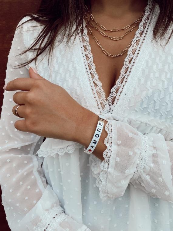 Bracelet carré AMORE blanc