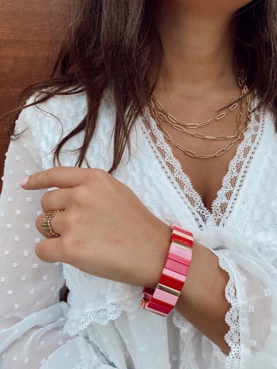Bracelet grandes baguettes FAIRY rose