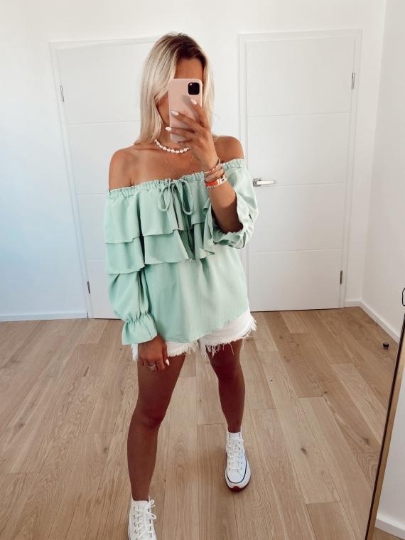 Green REACTION bare-shoulder blouse