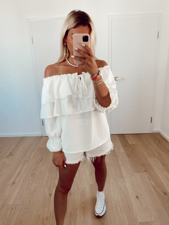 White REACTION bare-shoulder blouse