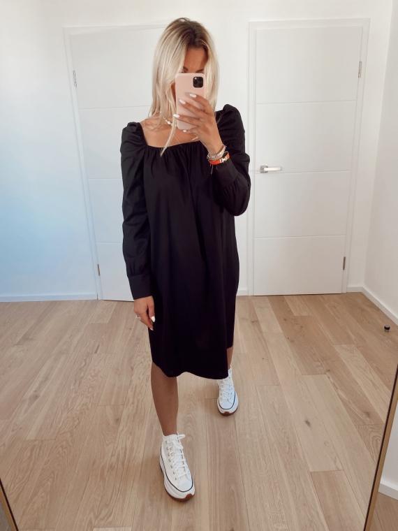 Black CHARMS squared collar dress