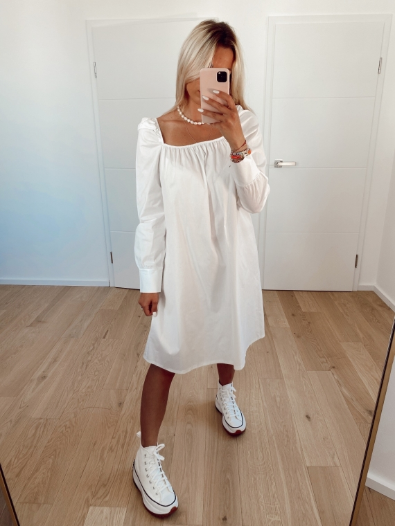 White CHARMS squared collar dress