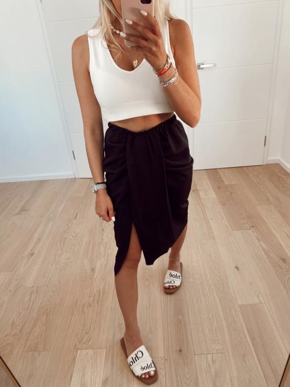 Black LIFE draped skirt