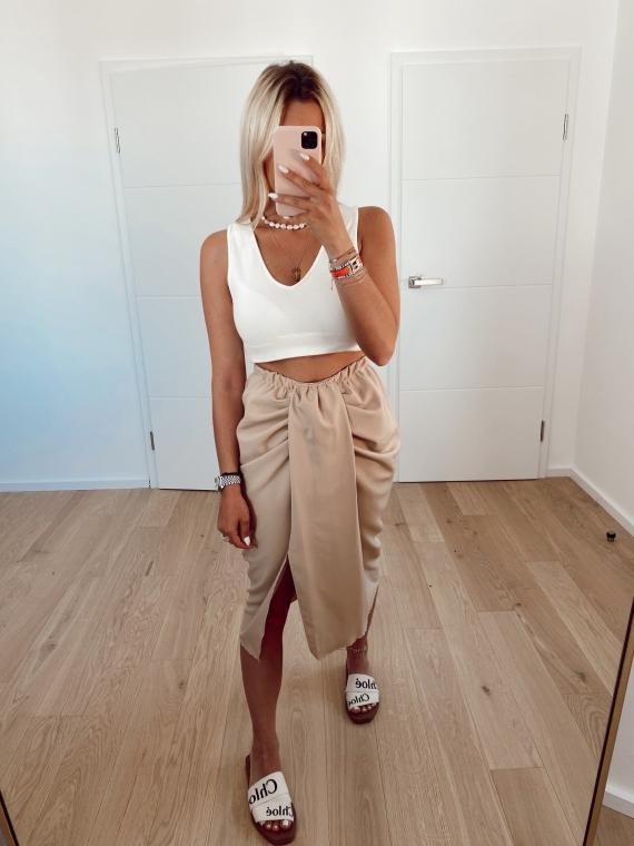 Beige LIFE draped skirt