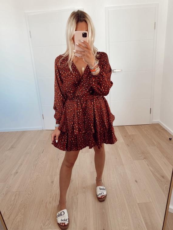 Red SAILOR leopard dress