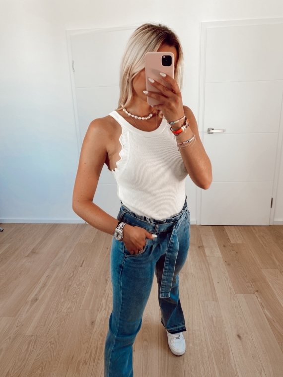 White EMORY cut-out top