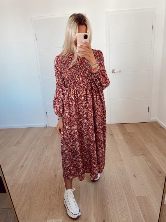 Robe longue fleurie FRESCIA rouge