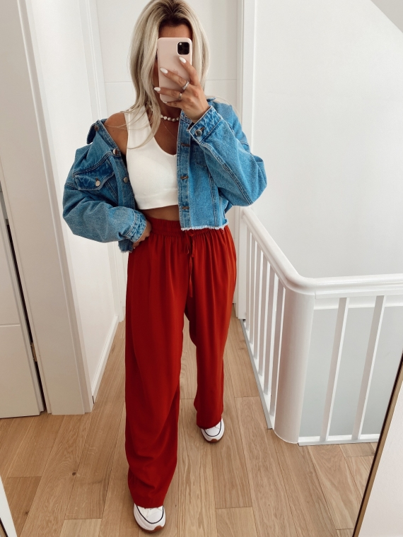 Red BECK fluid wide pants