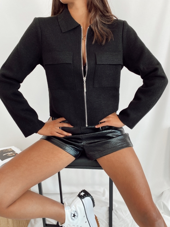 Veste en maille courte LIMONA noire