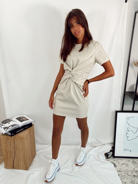 Beige GLOSSY leatherette dress