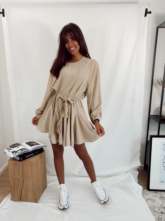Beige GALA flared dress