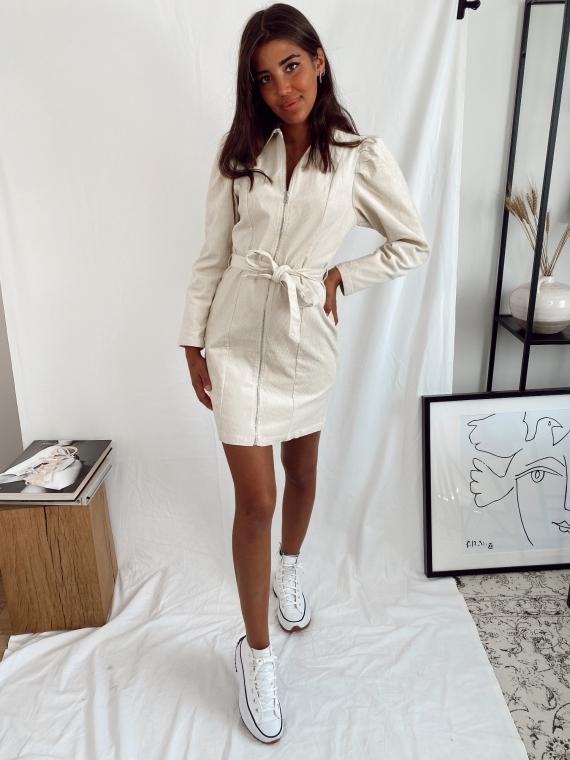 Beige NIRVANA corduroy dress