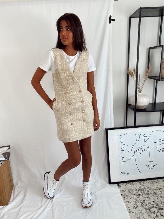 Beige DIABOLO tweed chasuble dress