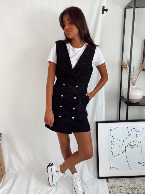 Black DIABOLO tweed chasuble dress