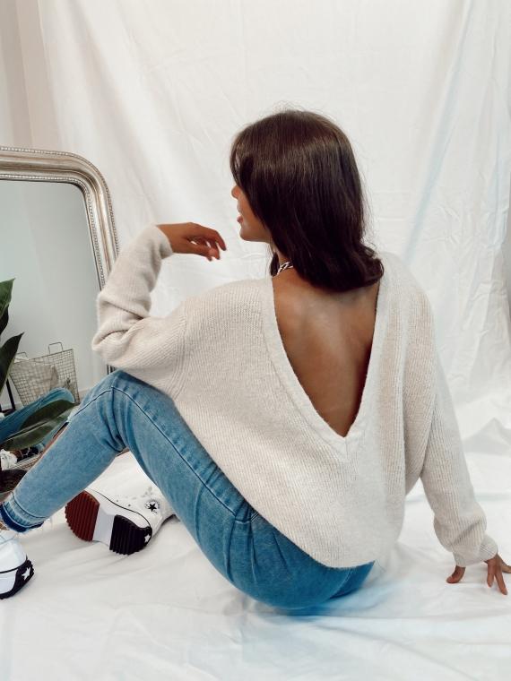 Beige ANJA V pullover in the back