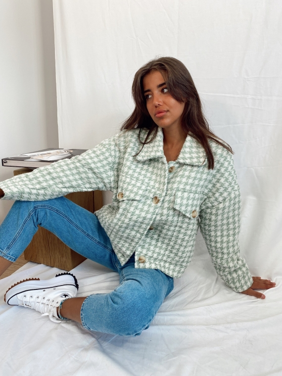 Green and white houndstooth GRENADE jacket