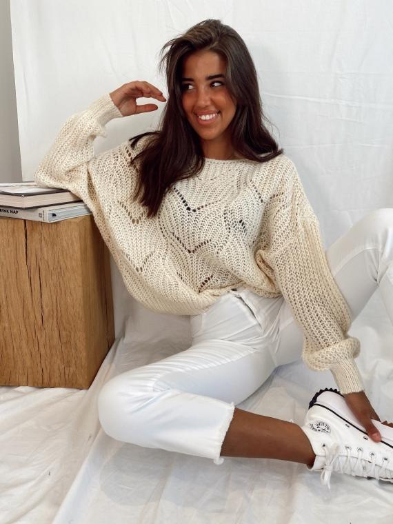 Beige ESME knit sweater