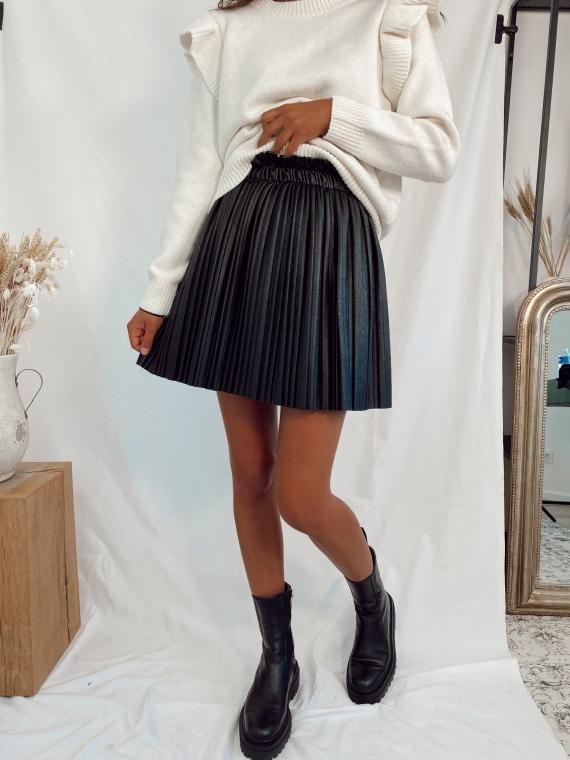 Jupe plissée simili cuir BAMBI noire