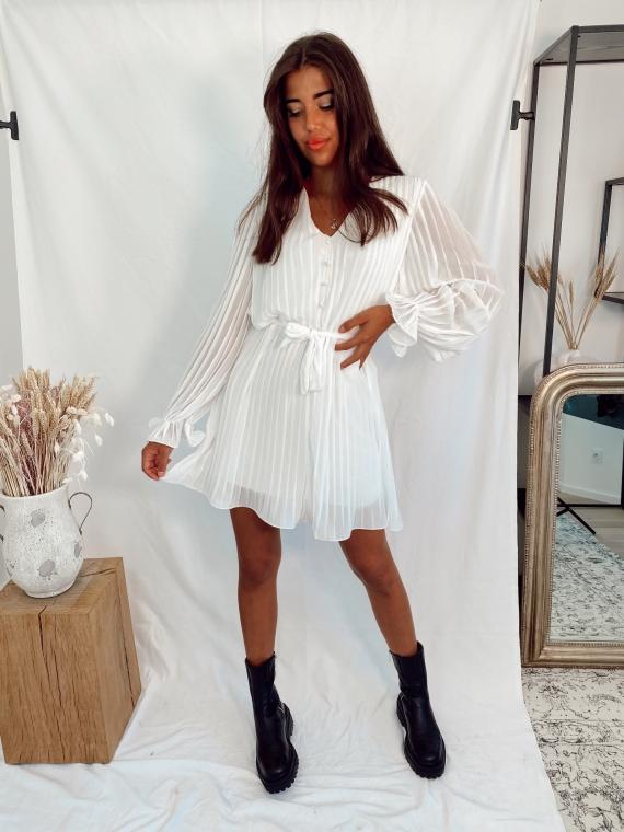Robe plissée VELVET blanche