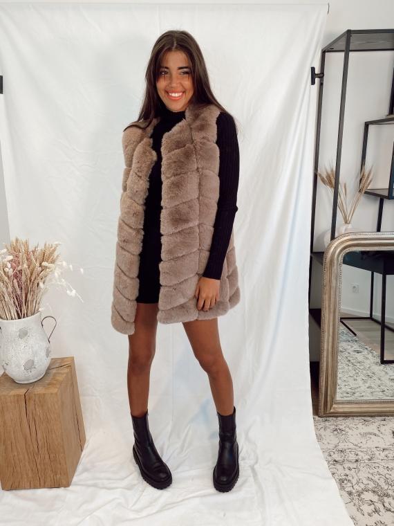 Taupe WALK fake fur jacket