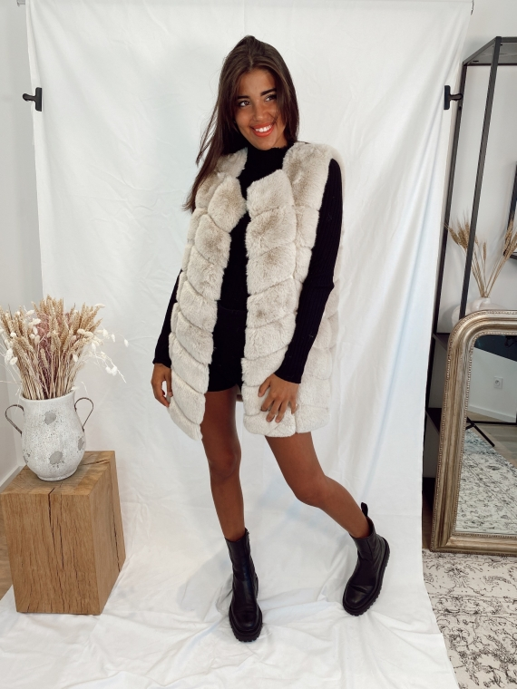 Beige WALK fake fur jacket