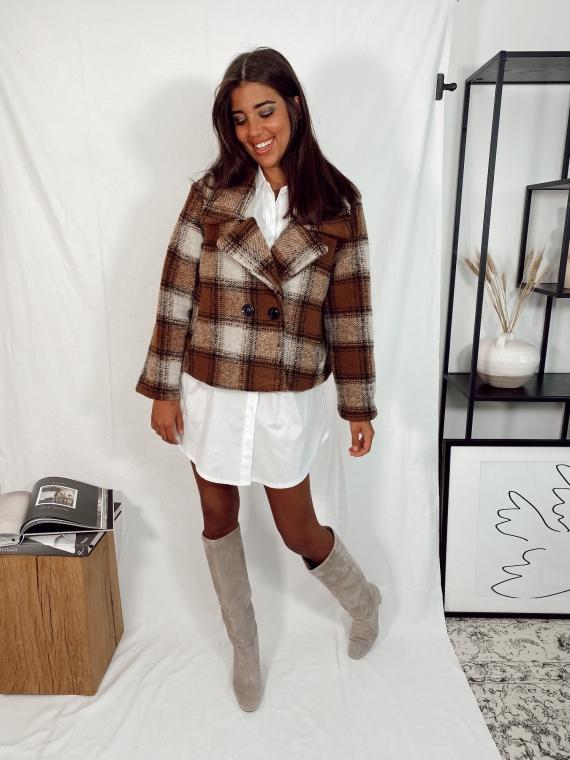 Camel HIDEAWAY checkered short coat