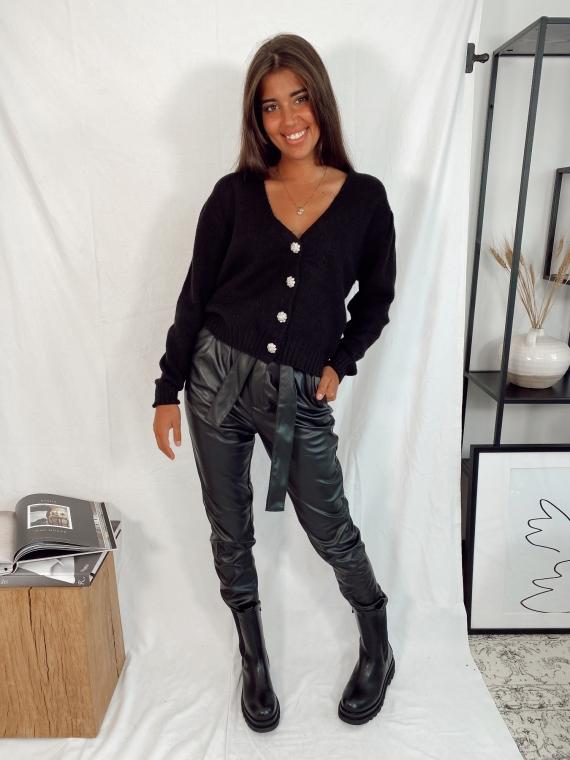 Black SILENT jewelry button cardigan