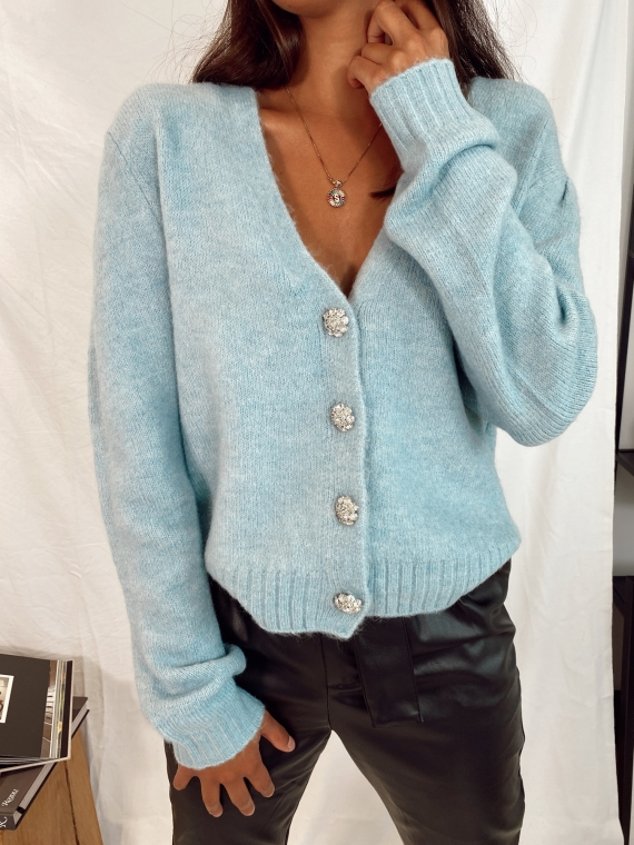 Blue SILENT jewelry button cardigan