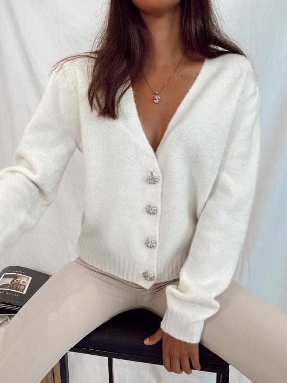 Ecru SILENT jewelry button cardigan