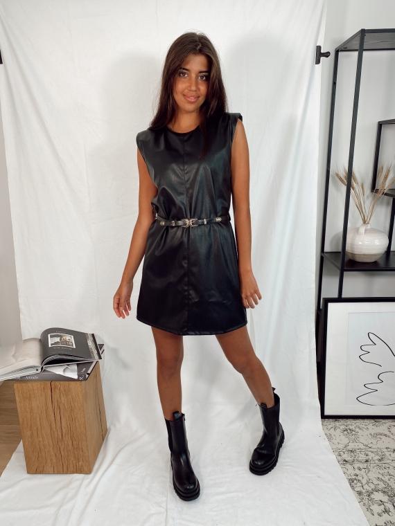 Black AMAZONE belted leatherette dress
