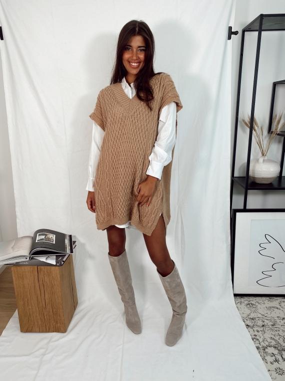 Camel QUINN short sleeve sweater dress