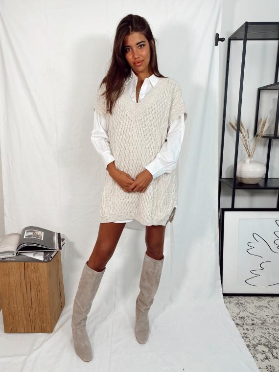 Beige QUINN short-sleeved sweater dress