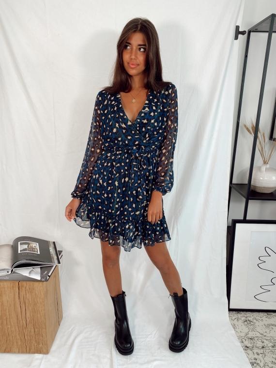 PRE-ORDER Navy blue NANA leopard dress