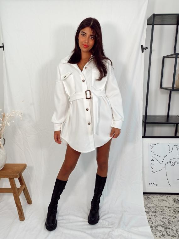 Veste ceinture en feutre MERCI blanche