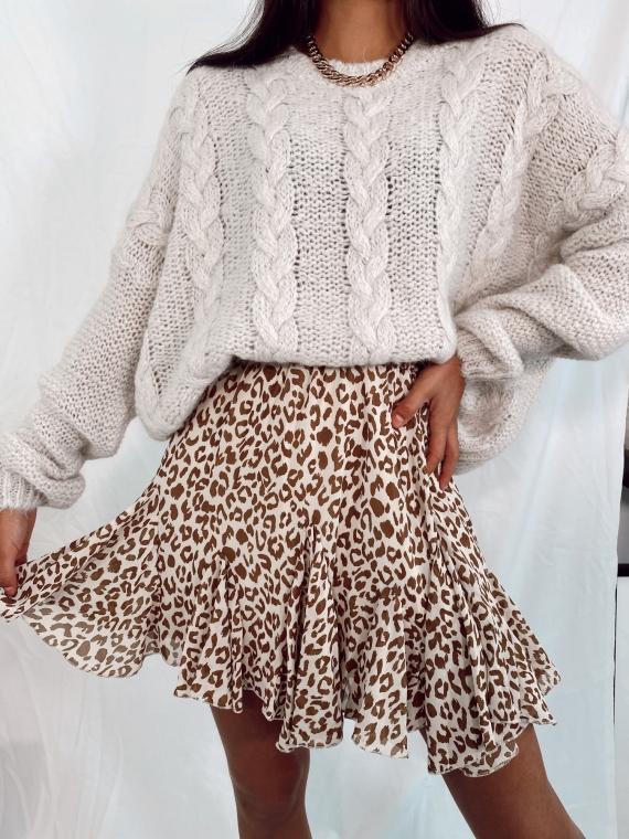 Beige ROMARI braided sweater